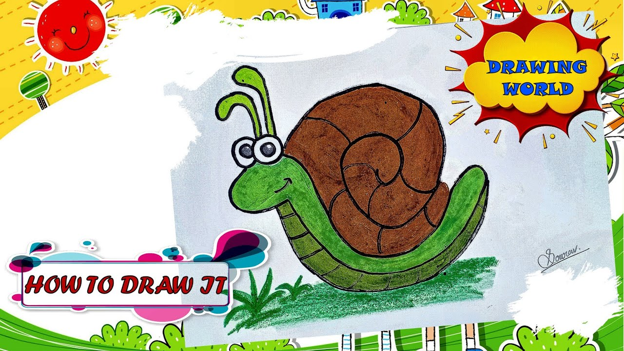 How to draw a snail realistic, Draw a snail and label it, How to draw a snail step by step for beginners, Snail drawing with color, How to draw a snail video, Snail drawing for kids
